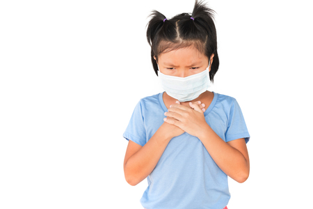 Little girl has sick with wearing a mask on white background
