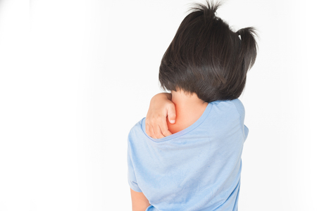 Little girl has sick isolate on white background