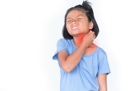 Little girl has sick is sore throat isolate on white background