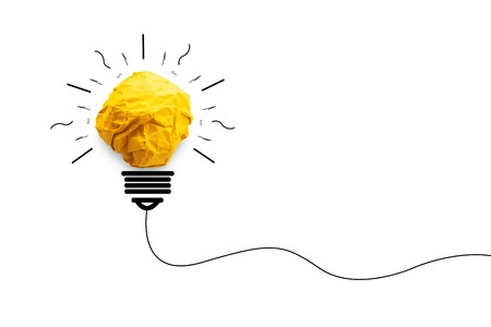 concept idea paper light bulb for creative innovation on white background