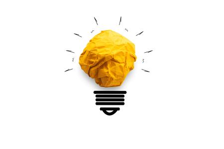 concept idea paper light bulb on white background