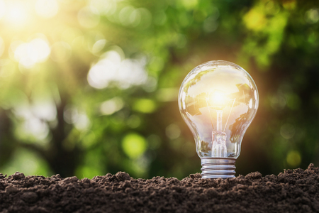 concept saving energy lightbulb with solar power in nature