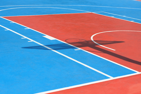 Basketball court with line outdoor public Imagens