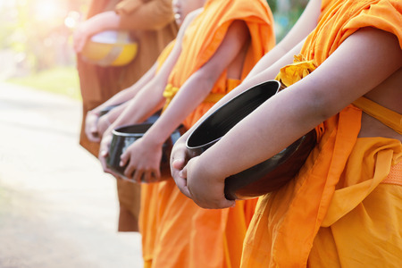 the monk alms round in the morning