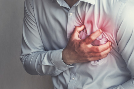 people chest pain from heart attack. healthcare concept Stock Photo