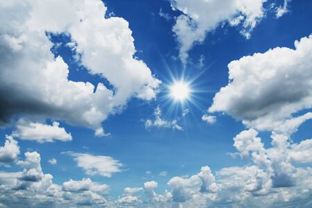 beaultiful blue sky with cloud and sun