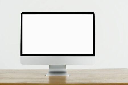 blank white screen computer display isolate on white background Stok Fotoğraf