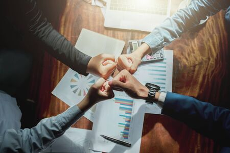 Group of people Hand Together Joining for built team in office Stok Fotoğraf - 130721549