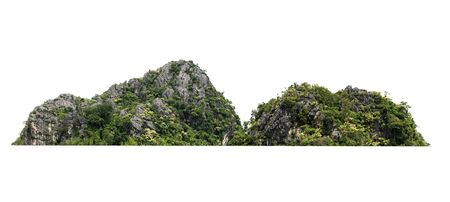 rock mountain hill with  green forest isolate on white background Stok Fotoğraf