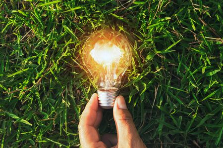 hand hold light bulb on grass with sunset power energy concept nature