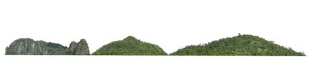 rock mountain hill with  green forest isolate on white background Stok Fotoğraf - 132068672