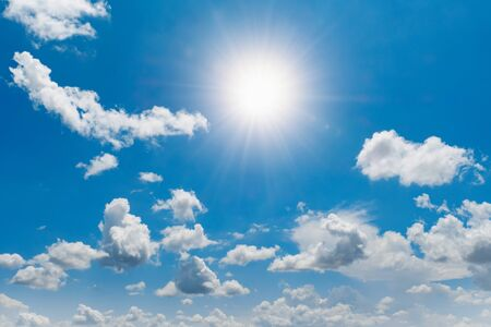 blue sky with white cloud and sunshine