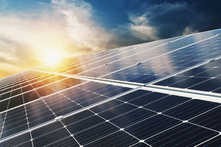Solar panel with blue sky and sunset. concept clean energy, electric alternative, power in nature Stok Fotoğraf - 132068654