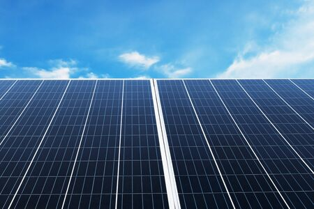 Solar panel with blue sky and sunshine. concept clean energy, electric alternative, power in nature Imagens - 132069197