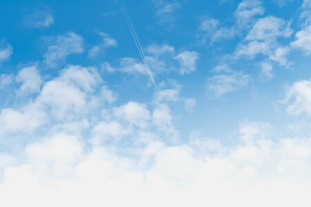airplane with white cloud on blue sky in morning light background Stok Fotoğraf - 132068893