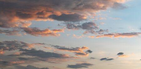 beautiful sky with orange cloud and sunset