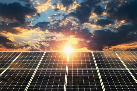 Solar panel sunset. concept clean energy, electric alternative, power in nature Stock fotó