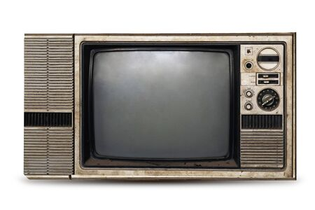 old television isolate on white background