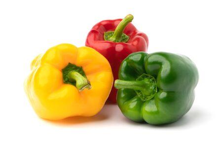 three sweet bell pepper isolate on white backgroud