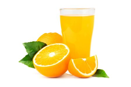 orange  juice in glass with fruit isolate on white background