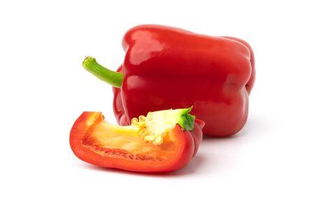 red sweet bell pepper isolate on white backgroud Stockfoto