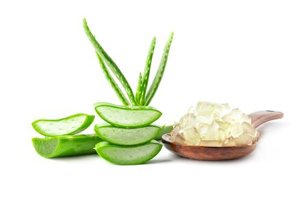 fresh aloe vera with slice and gel in spoon isolate on white background Stockfoto