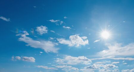 sun with white cloud and blue sky nature  background