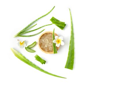 top view fresh aloe vera with slice and flower  isolate on white background