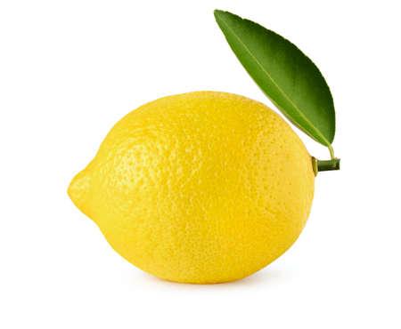lemon with leaf isolate on white background