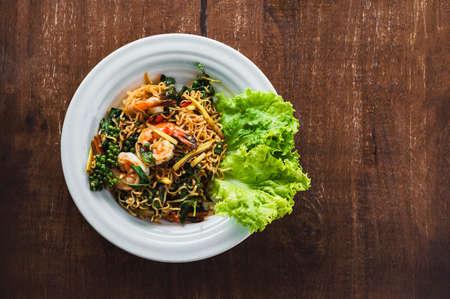 Stir Fried Seafood on table Standard-Bild