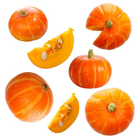 Set of pumpkins isolated on white Archivio Fotografico