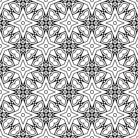 A black and white mandala pattern.