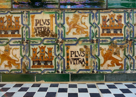 tiled wall: Medieval Style Tiled Wall in the Real alcazar of Seville in Spain, Background, Pattern