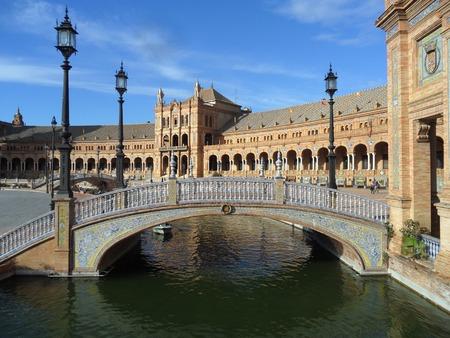 bluesky: Plaza de Espana under the Bluesky, Seville, Andalusia, Spain