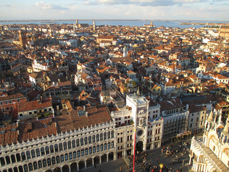 Stunning Architectures and Cityscape view from the Campanile, Venice, Italy Stock Photo