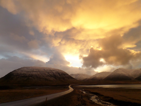 amazing stunning: Stunning Golden Sunset Sky View on the way to Mount Kirkjufell, Iceland