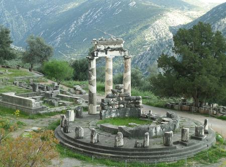 athena: Stunning View of the Sanctuary of Athena Pronaia on the Mountainside, Delphi, Greece Stock Photo