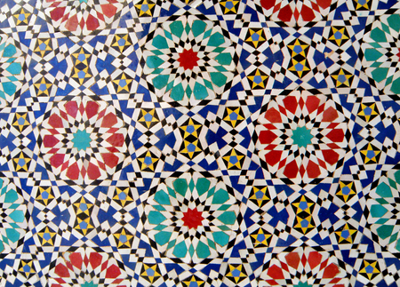 tiled wall: Moroccan Style Circle Pattern Brightly & Colorful Tiled Wall in Fez, Morocco, Background, Pattern