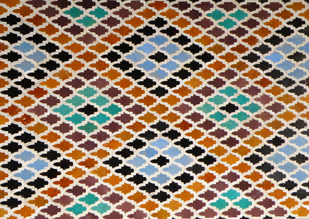 tiled wall: Moroccan Style Diamond-shaped pattern Bright Blue Orange Brown Color Tiled Wall in Fez, Morocco, Background, Pattern