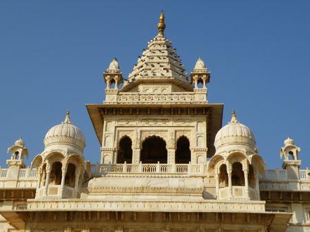jainism: Beautiful White Jainism Temple in Rajasthan, India Stock Photo