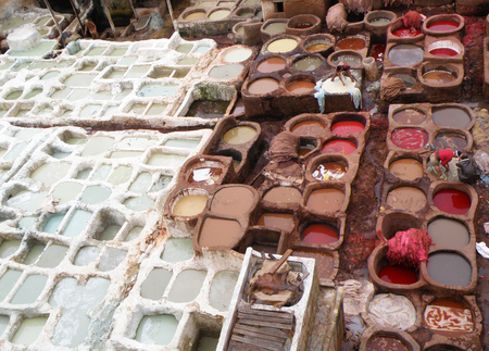 fez: View of White and Red Brown Dye Pits of the Leather Factory in Fez, Morocco