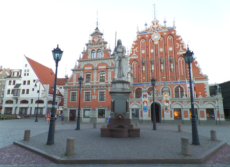 Stunning Old City Square and House of the Blackheads of Riga, Latvia