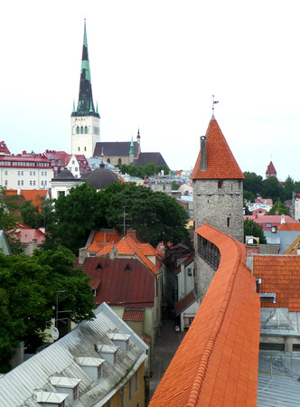 Rooftop View with St. Olafs Church, Landmark of Tallinn, Estonia Stock Photo