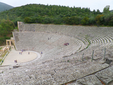 Breathtaking view of Ancient Theatre of Epidaurus, Greece Stock Photo