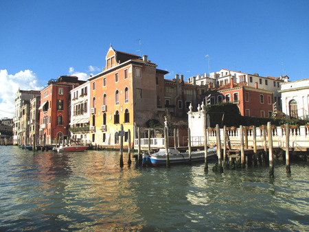 Vibrant Color Traditional Architecture Along Grand Canal Against Sunny Blue Sky, Venice of Italy