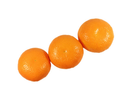 Closed up three ripe vivid color oranges isolated on white background, Line up, Crosswise