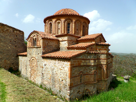 Church of Agioi Theodoroi, an Unique Byzantine Church in the Archaeological Site of Mystras, Greece Stock Photo