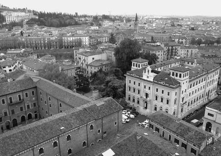 monotone: Beautiful Cityscape of Verona Old Town in Monotone, Northern Italy Stock Photo