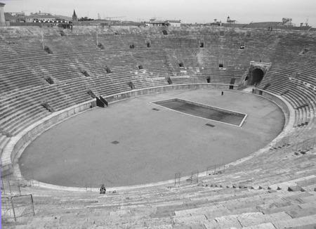 monotone: The Arena of Verona in Monotone, Roman Amphitheatre at the Piazza Bra Square in Verona, Italy