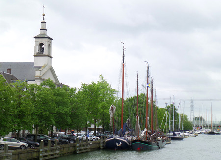 Beautiful river marina at the town of Muiden, Netherlands 免版税图像